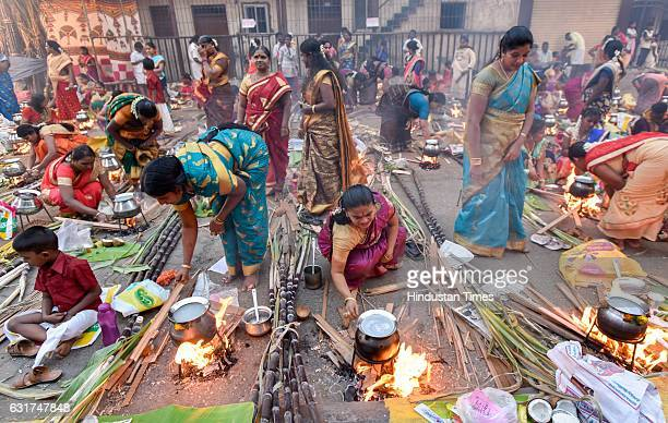 Hindu devotees cook traditional sweet dish on open fires during a community function on the occasion of Pongal at Dharavi on January 14 2017 in...