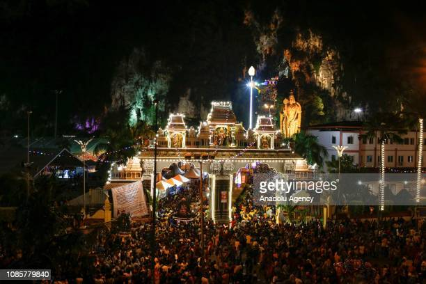 Hindu devotees gather at Batu Caves Temple during the festival of Thaipusam in Kuala Lumpur Malaysia on January 21 2019