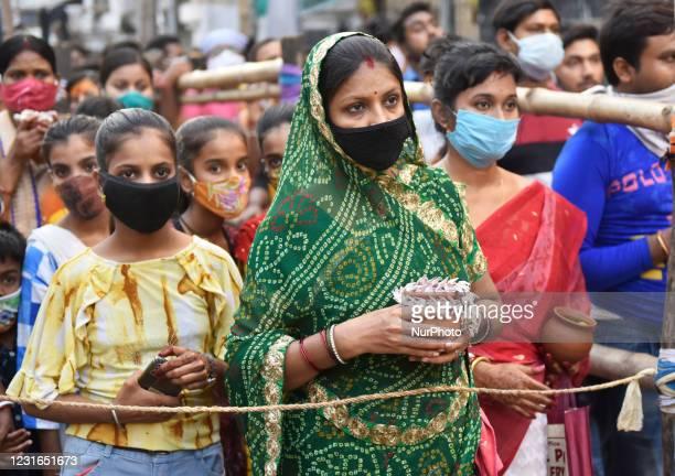 Hindu devotees gather to celebrate Maha Shivaratri festival in Kolkata, India, 11 March, 2021. Maha Shivaratri which means 'the Great Night of Lord...