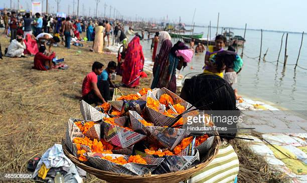 Hindu devotees gathered to take a dip in the waters of the holy confluence of Ganga Yamuna and the mythical Saraswati at Sangam on the occasion of...