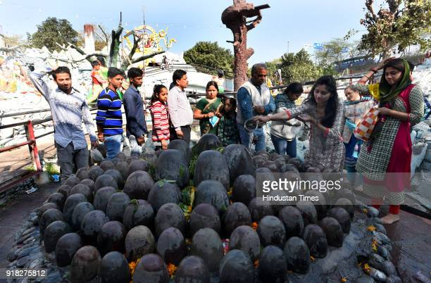 Hindu Devotees offer milk and water over a Shivling inside a temple during the Maha Shivratri festival at Preet Vihar on February 14, 2018 in New...