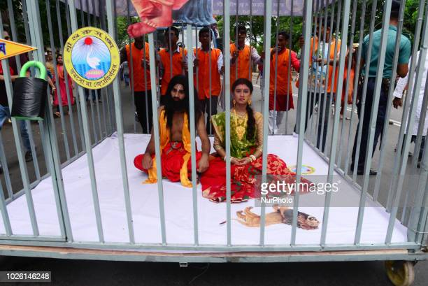 Hindu devotees parade as they take part in the celebrations of Janmashtami, a festival marking the birth of Hindu deity Krishna, in Dhaka,...