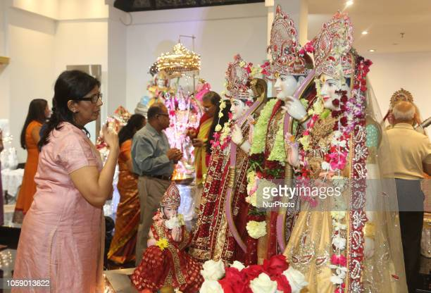 Hindu devotees perform prayers during the festival of Diwali at a Hindu temple in Toronto Ontario Canada on November 7 2018