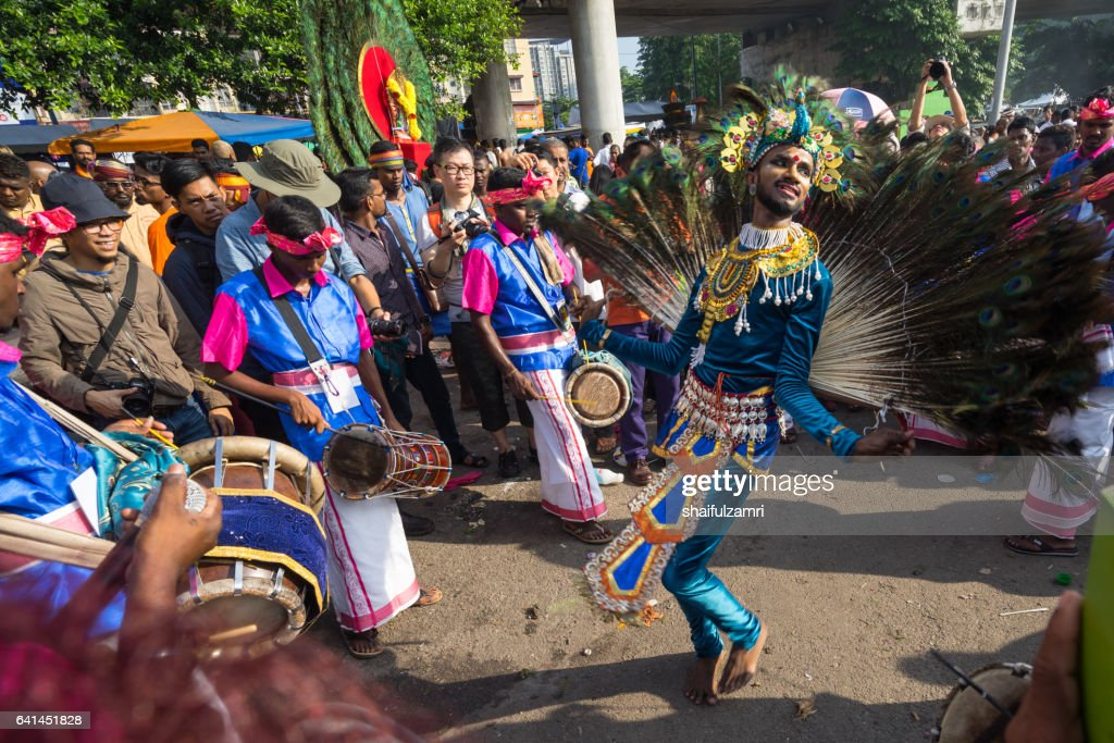 Hindu devotees performing a peacock dance  during Thaipusam festival : Stock Photo