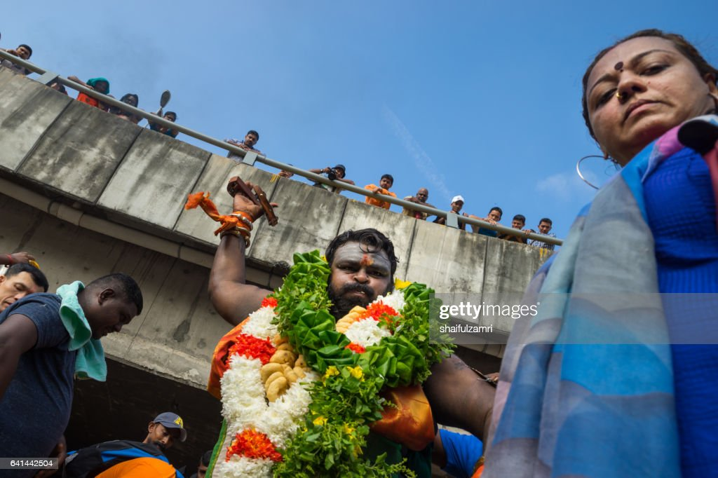 Hindu devotees performing a pray session during Thaipusam festival : Stock Photo