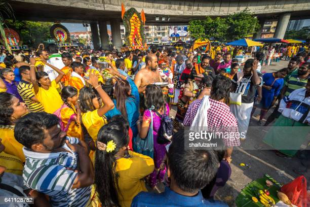 hindu devotees performing a prayer ritual during thaipusam festival - shaifulzamri stock pictures, royalty-free photos & images