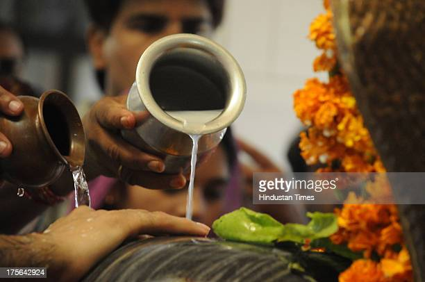 Hindu devotees pray and pour milk and holy water over an idol of lord Shiva on the occasion of Shivaratri at the Gufawala Shiv temple on the morning...