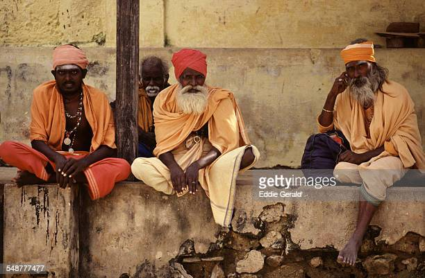 Hindu devotees wearing traditional clothing in Rameswaram in Tamil Nadu South India