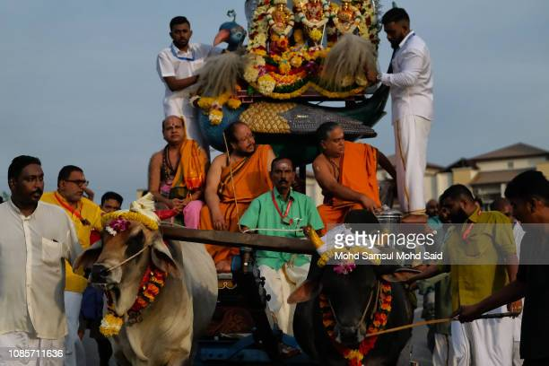 Hindu devotees with car cows carries a god as they perform a prayer at Batu Caves temple during Thaipusam festivals on January 21 2019 outside Kuala...