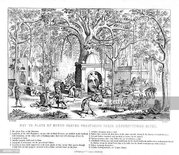 Hindu Fakirs practising their superstitious rites 19th century 1 The Great Tree of the Banyans 2 A pagoda of the idol Mamaniva on one side of which...