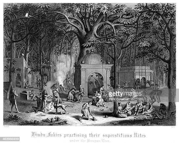 'Hindu Fakirs Practising Their Superstitious Rites Under the Banyan Tree' A print from The Faiths of the World a Dictionary of All Religions and...