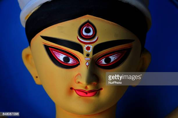 Hindu God Devi Durga Idol at the artisan's village of Kumartoli in Kolkata on September 16 2017 Durga Puja the annual Hindu festival that involves...