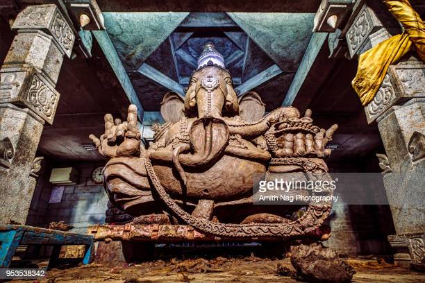 hindu god, ganesha at a temple near bangalore - ganesh chaturthi stock photos and pictures