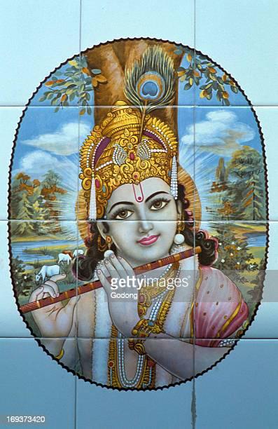 Hindu god Krishna with his flute