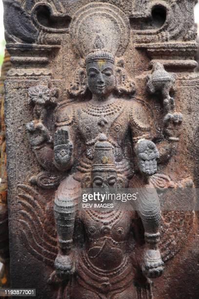 hindu god statue on temple walls at varadharaja perumal temple, kanchipuram,tamil nadu,india - hindu god stock pictures, royalty-free photos & images