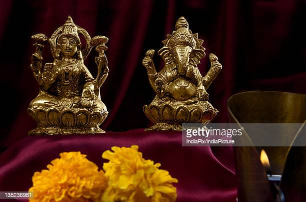 hindu idols - goddess lakshmi stock photos and pictures