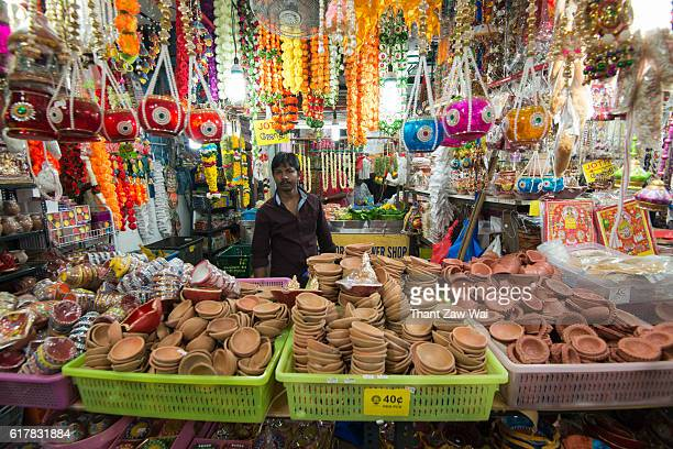 hindu market-stall in singapore - diwali stock photos and pictures