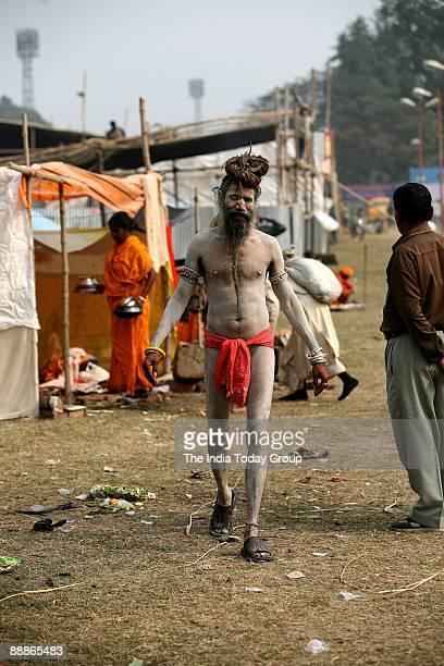 Hindu monk at Ganga Sagar Mela in Kolkata West Bengal India