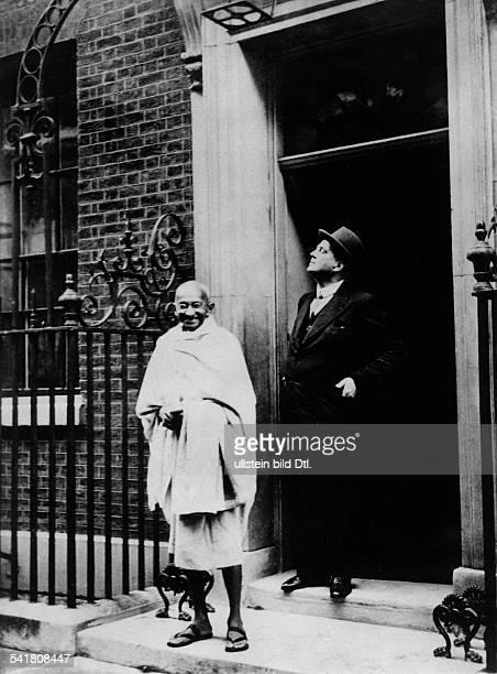 MOHANDAS GANDHI Hindu nationalist and spiritual leader Gandhi on Downing Street in London Photographed in 1931