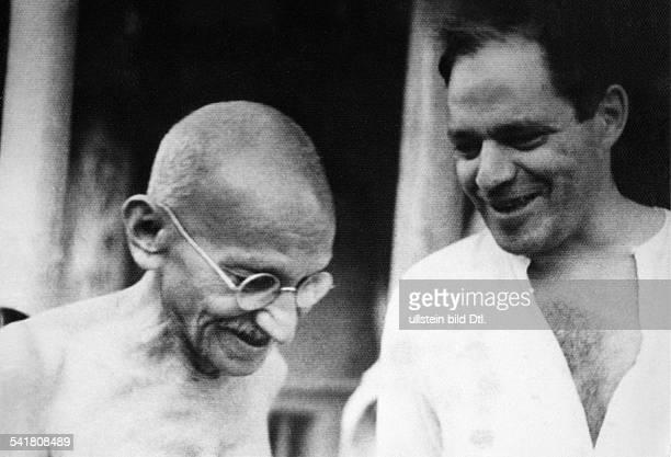 MOHANDAS GANDHI Hindu nationalist and spiritual leader Gandhi with American journalist Louis Fischer