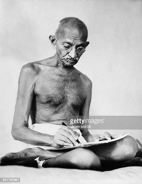 MOHANDAS GANDHI Hindu nationalist and spiritual leader Photographed at BirlaHouse Bombay India August 1942