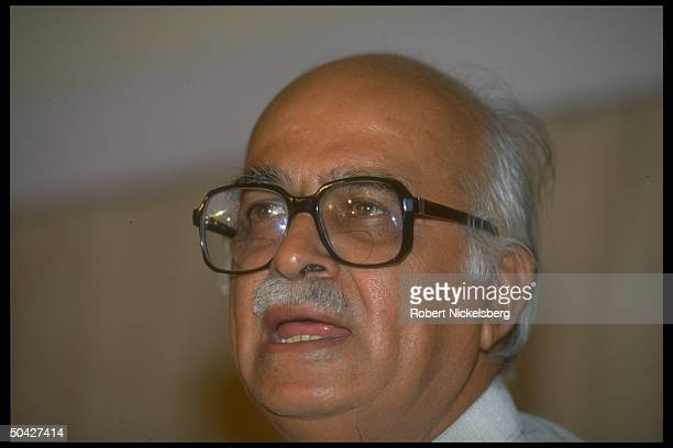 Hindu nationalist BJP ldr. L.K. Advani, Bharatiya Janata Party parliamentary cand., speaking at press conf.