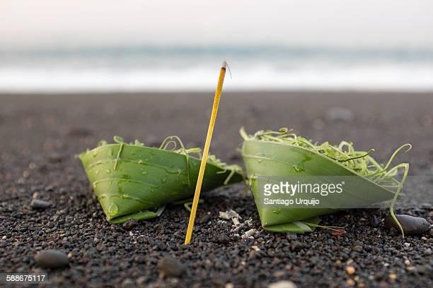 Hindu offering on the beach