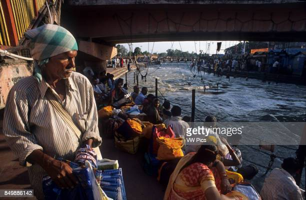 Hindu pilgrims at the Ardh Kumbh Mela religious festival in Haridwar in India Haridwar Uttaranchal India One of the most famous and most visited...