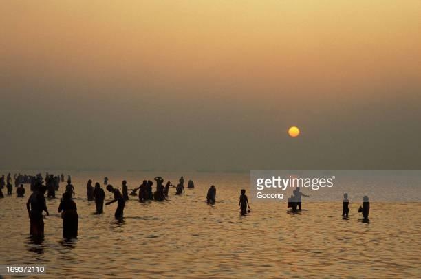 Hindu pilgrims bathing at dawn at Ganga Sagar Mela yearly pilgrimage at the mouth of the Ganges