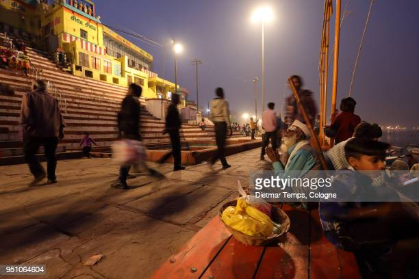 Hindu pilgrims on the ghats in Varanasi, India