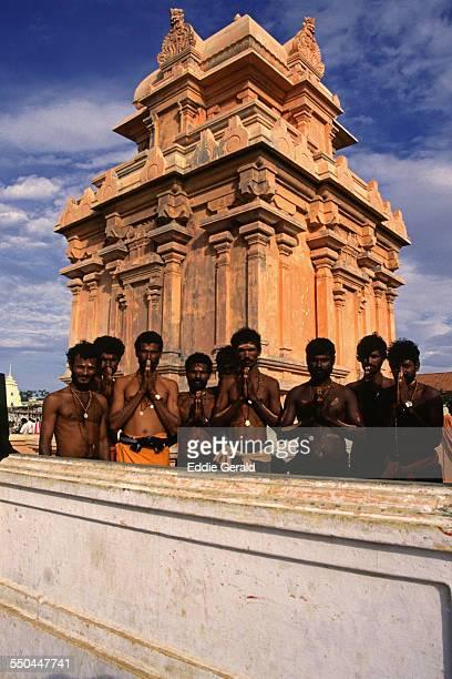Hindu pilgrims posing at Kanyakumari in the state of Tamil Nadu South India