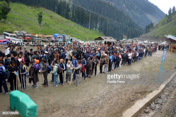 PAHALGAM ANANTNAG JAMMU KASHMIR INDIA Hindu pilgrims seen on their way to the Amarnath cave during the first phase of annual Amarnath Yatra Amid...