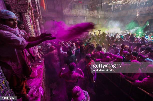 Hindu priest throws colored powder at devotees during Holi festival at the Banke Bihari temple Known as the festival of colours Holi is an ancient...