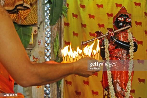 Hindu priests perform' Panchamrit Abhishek' to Lord Krishna idol on the occasion of Krishna Janmasthami celebration at historical Radha Damodar...