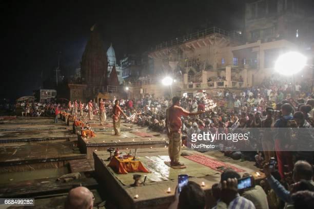 Hindu Priests Perform The Ganga Aarti Ritual In Varanasi Fire Puja Is A That