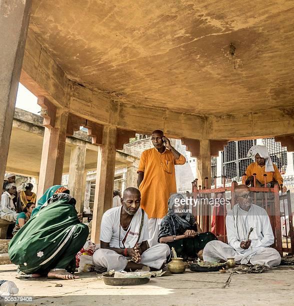 Hindu Puja blessing in Varanasi India
