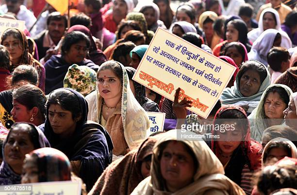 Hindu refugees from Pakistan demanding Indian citizenship as Pakistani singer Adnan Sami was given Indian citizenship during a protest at Jantar...