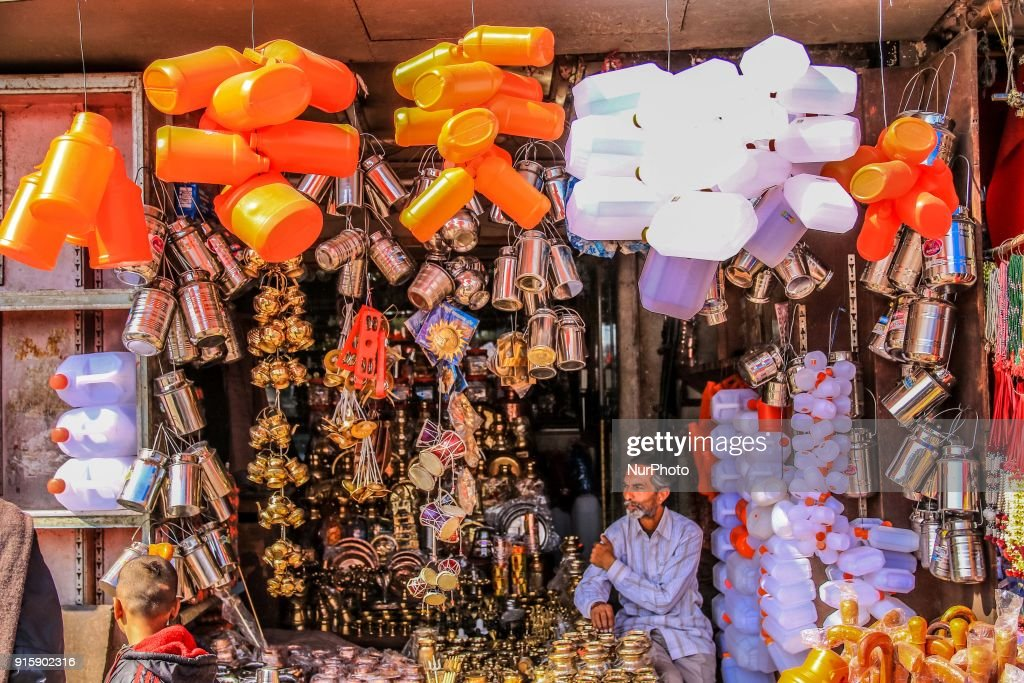 Hindu religion as well as decorative items sale at street market in