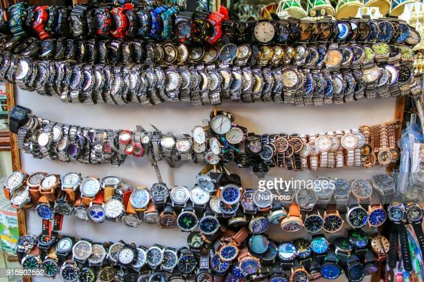 Hindu religion as well as decorative items sale at street market in Haridwar Uttrakhand India on 8th Feb 2018 Haridwar is a major attraction for the...