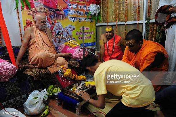 Hindu religious leader Puri Shankaracharya Swami Nischalananda Saraswati during a darshan deeksha and Paduka pujan organized on May 14 2015 in Bhopal...