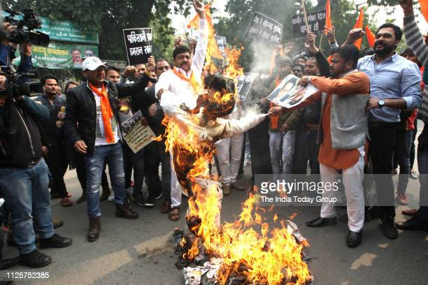 Hindu Sena Supporters burning the effigy of JaisheMohammad and Prime Minister of Pakistan Imran Khan to protest against the terror attack in Pulwama...