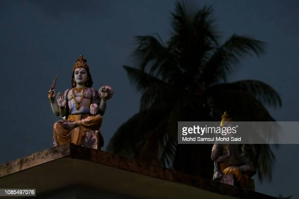 Hindu statues are seen near the Batu Caves temple during Thaipusam festivals on January 20 2019 outside Kuala Lumpur Malaysia Thaipusam is a Hindu...