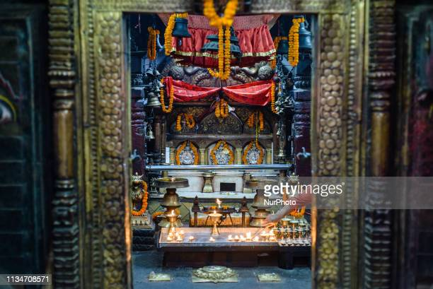 Hindu temple in Thamel district Kathmandu Nepal on April 3 2019