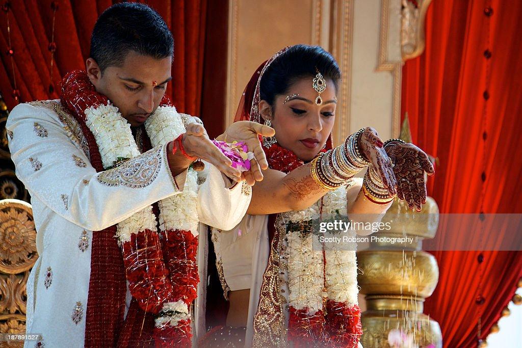 Hindu Wedding blessings : Stock Photo