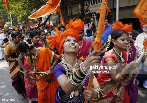 Hindu women at a Gudi Padwa celebration procession at Shivaji Park Dadar on Monday Hindus celebrate their begining of New Year on Gudi Padwa every...