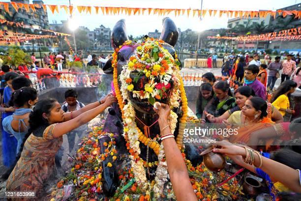 Hindu women seen offering prayers with Milk & water on the idol of Lord Shiva during Maha Shivaratri Festival at a temple of Kolkata.
