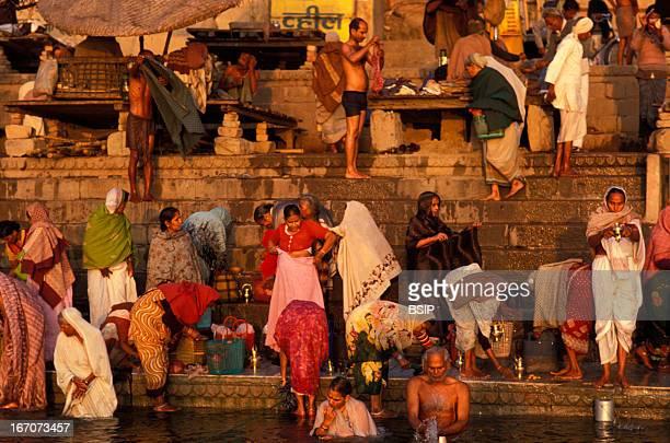 Hinduism Ritual bathing in the Ganges Benares India