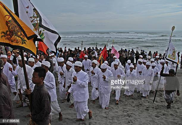 BEACH BANTUL YOGYAKARTA INDONESIA Hindus Devotees follow the Melasti ceremony in Parangkusumo beach Yogyakarta Indonesia The Melasti ritual is held...