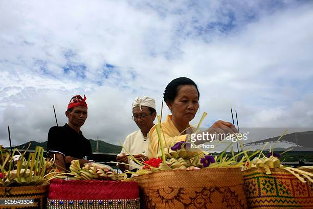 Hindus follow the Melasti ceremony in Parangkusumo Bantul Yogyakarta Indonesia March 15 2015 The ceremony is a celebration of Nyepi series of new...