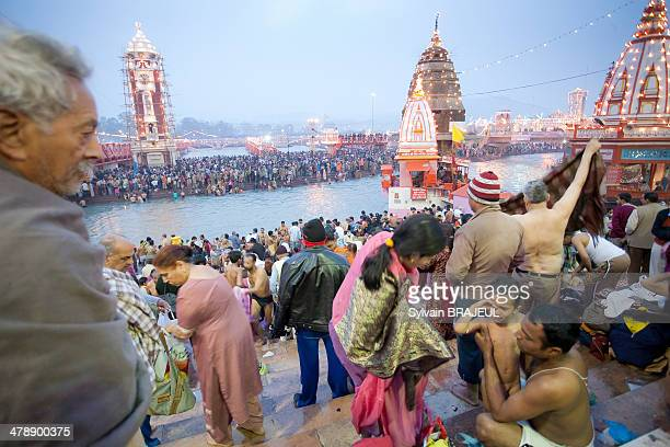 Hindus pilgrims before the Royal Bath in the sacred ganges, during the Khumbh Mela in Haridwar, on the 12th of February 2010 during the Maha...